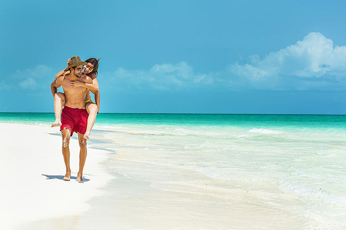 Varadero beach couple enjoy solitude.